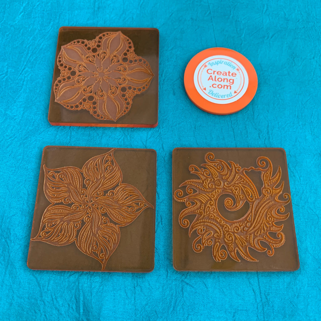 Set of 3 Cindi McGee Sea Stars Deco Disc stamps texture polymer clay art jewelry mixed-media