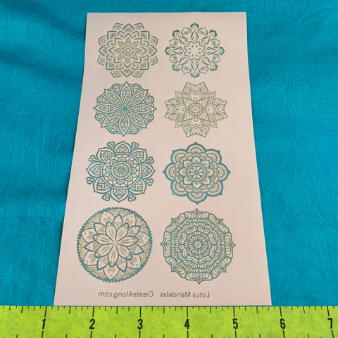 Image of Silkscreen Stencil Lotus Mandalas Circles 8 designs For Polymer Clay And Mixed Media - Polymer Clay TV tutorial and supplies