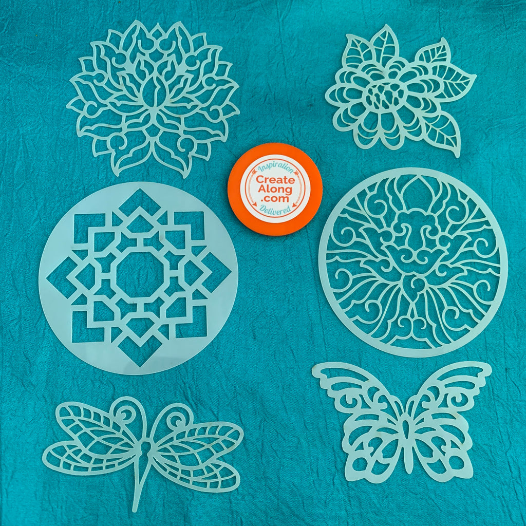 Floral Coin Stencils 6 designs for polymer clay art jewelry mixed media