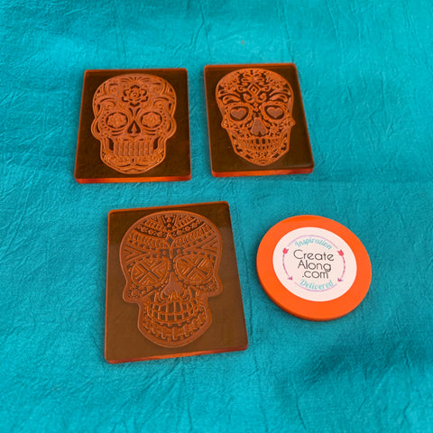Image of Sugar Skulls Deco Disc stamps texture polymer clay art jewelry mixed-media - Polymer Clay TV tutorial and supplies