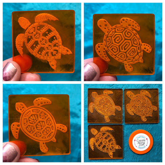 Deco Disc Turtle Mania Stamp texture polymer clay art jewelry mixed-media - Polymer Clay TV tutorial and supplies