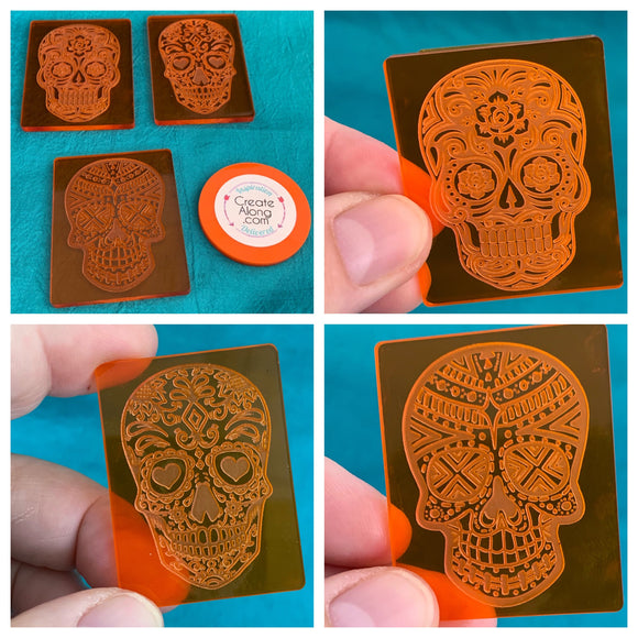 Sugar Skulls Deco Disc acrylic stamps texture pattern designs- polymer clay, art jewelry, mixed-media