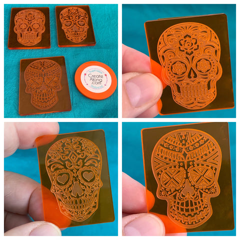 Sugar Skulls Deco Disc stamps texture polymer clay art jewelry mixed-media - Polymer Clay TV tutorial and supplies