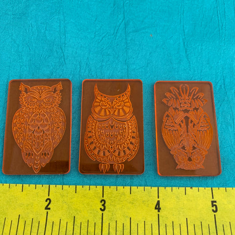 Set of 3 Owls Deco Disc stamps texture polymer clay art jewelry word art mixed-media