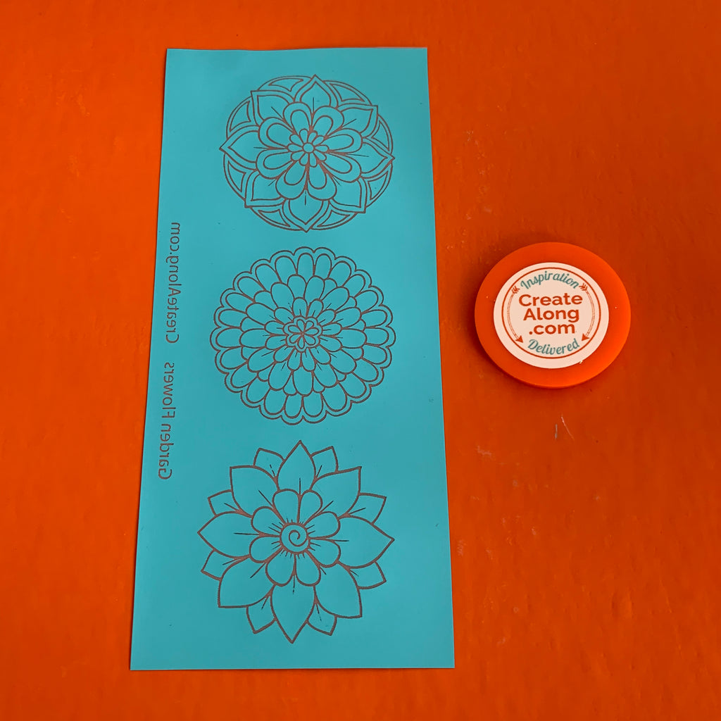 Silkscreen Polymer Clay Garden Flowers Trading Coins Stencil great for art jewelry and mixed media