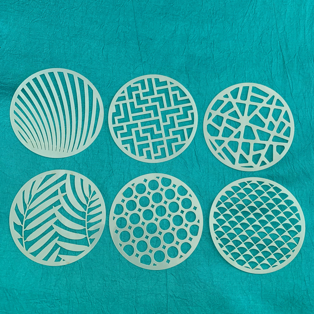Set #1 Round Stencils 6 patterns for polymer clay art jewelry mixed media - Polymer Clay TV tutorial and supplies