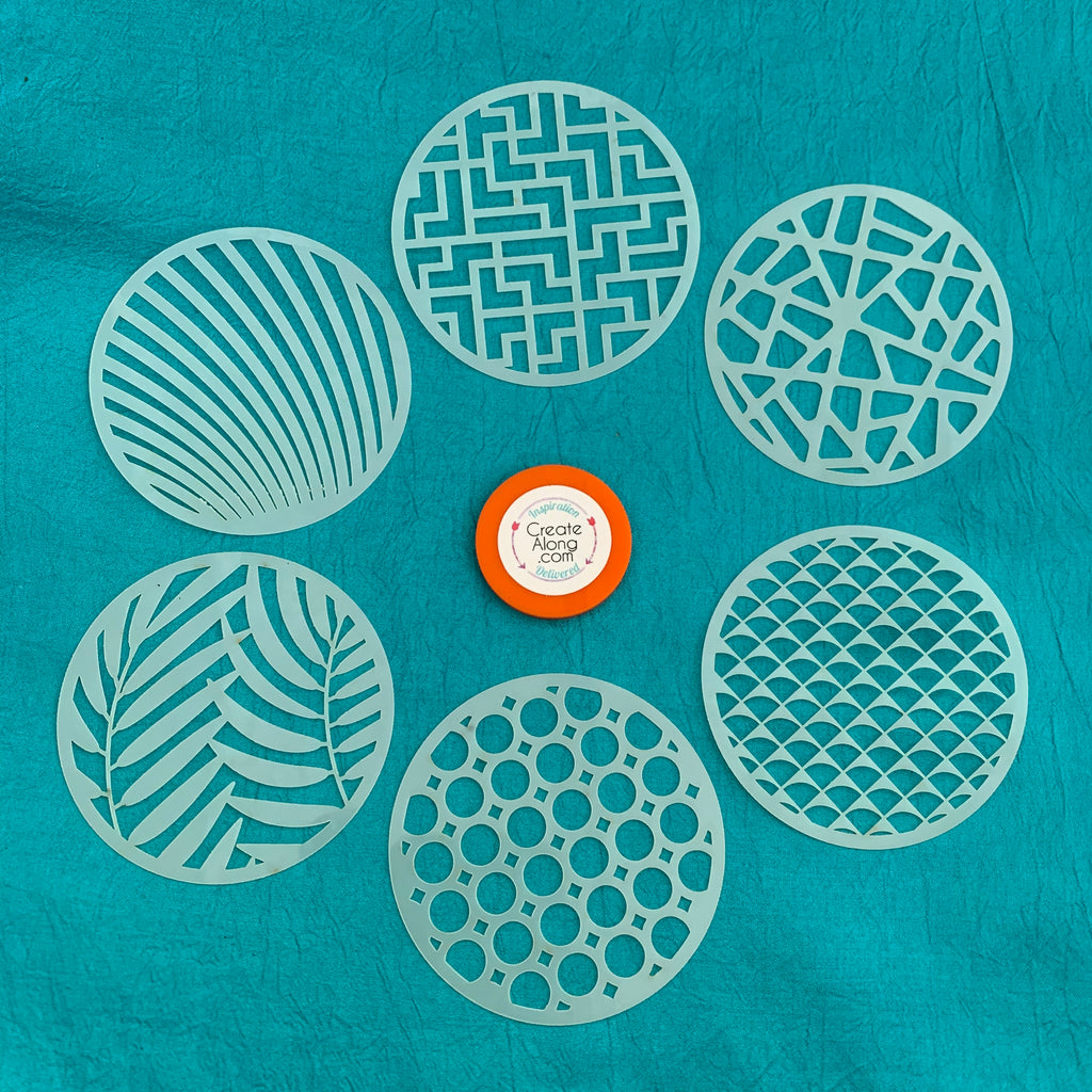 Set #1 Round Stencils 6 patterns for polymer clay art jewelry mixed media