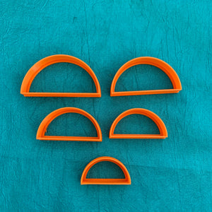 Graduated Set of 5 Semi Circle Cutters Jewelry Sized for Polymer Clay