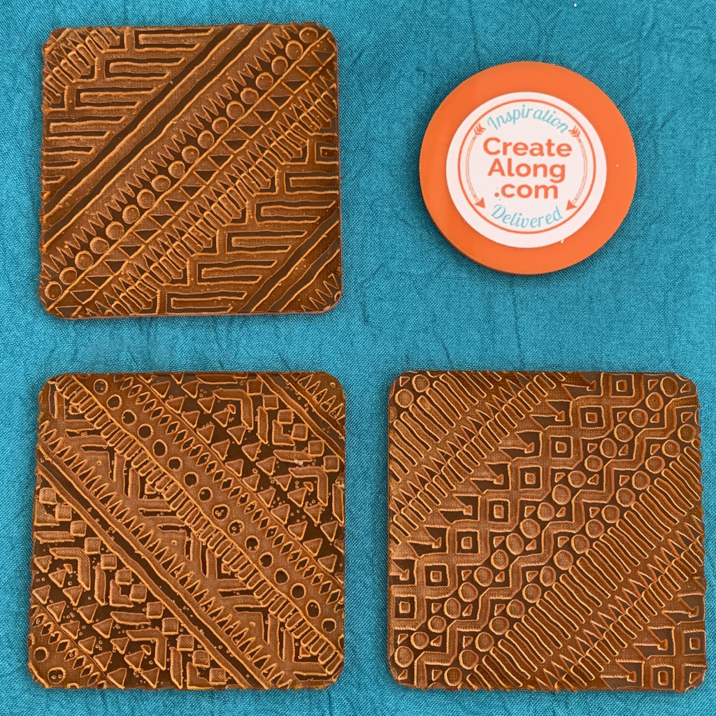 Deco Disc Tribal Tiles Stamp and Texture Pattern Designs for polymer clay