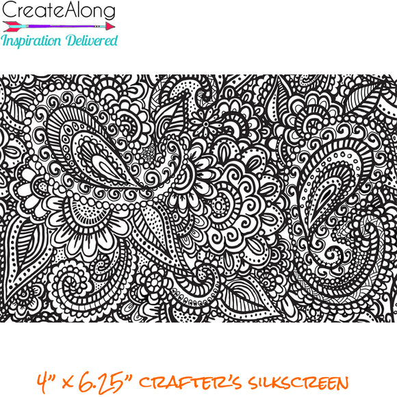 Silkscreen Stencil Paisley Garden Party for Polymer Clay and Mixed Media  overall design