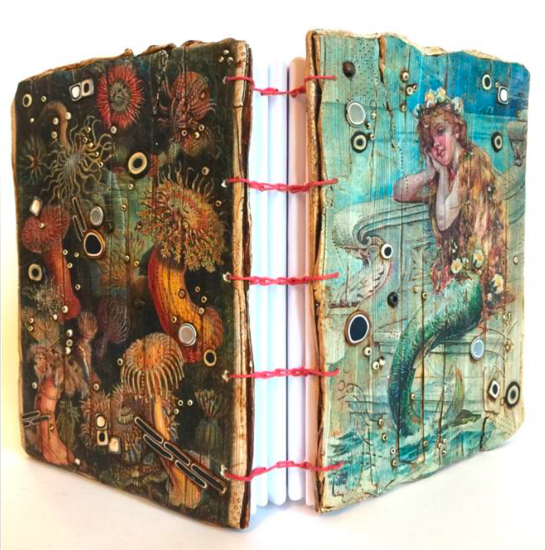 By the Sea Coptic Book binding Image Transfer polymer clay tutorial with Lisa Renner