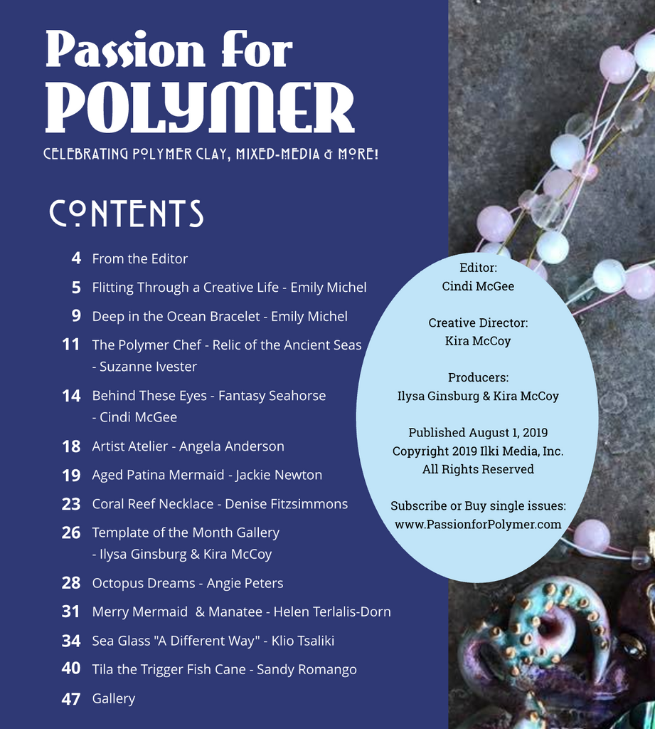 August Passion for Polymer clay magazine- DIGITAL PDF download - Polymer Clay TV tutorial and supplies