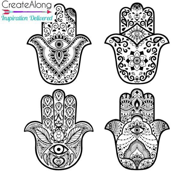 Hamsa Silkscreen Stencil set of 4  for Polymer Clay, Art Jewelry, and Mixed Media Blessed Eyes - Polymer Clay TV tutorial and supplies