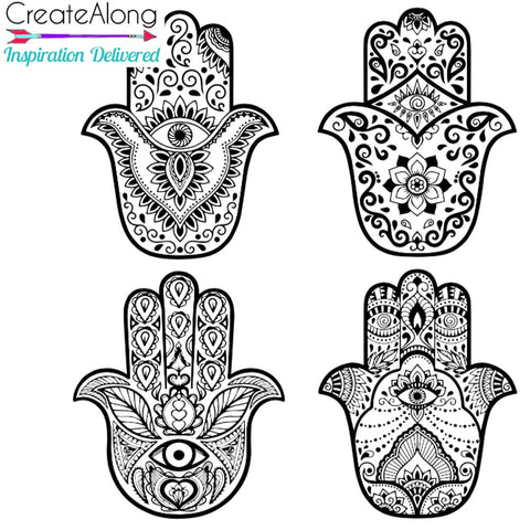 Image of Hamsa Blesed Eyes polymer clay Silkscreen Stencil Art Jewelry Mixed Media - Polymer Clay TV tutorial and supplies