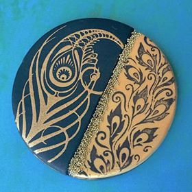 Image of Cindi's Paisley Peacock Borders Silkscreen Stencil Pattern Crafting, Polymer Clay, Art Jewelry, and Mixed Media - Polymer Clay TV tutorial and supplies