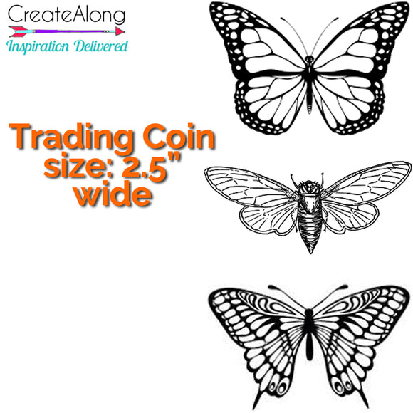 Polymer Clay Butterflies Trading Coins Silkscreen Stencil great for mixed media