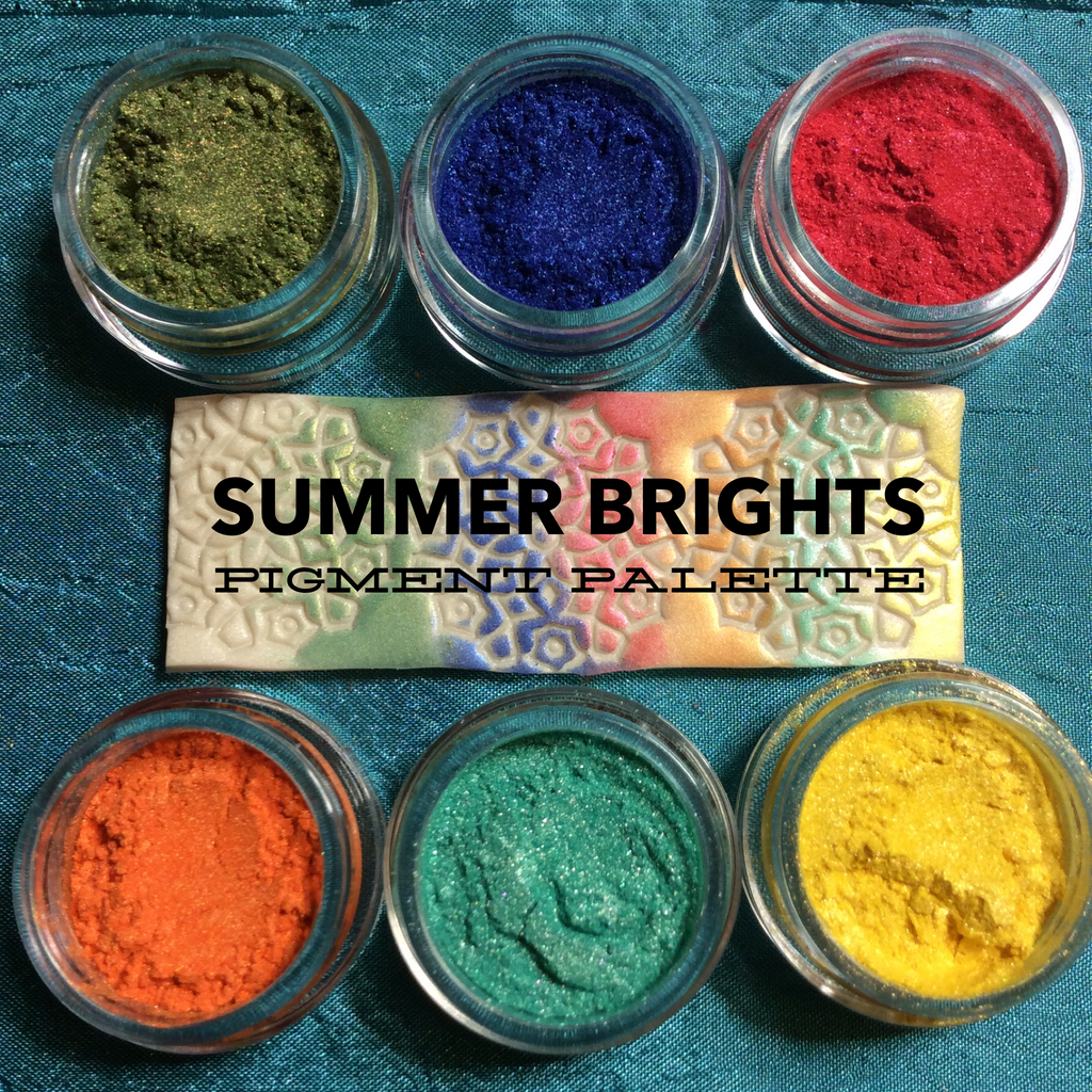 Summer Brights Pigments Palette Mica Powders for Polymer Clay and Mixed Media color shimmer