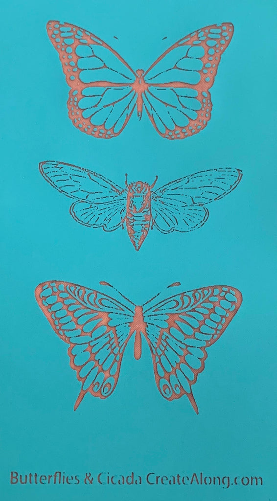 Silkscreen Polymer Clay Butterflies Trading Coins Stencil great for art jewelry and mixed media
