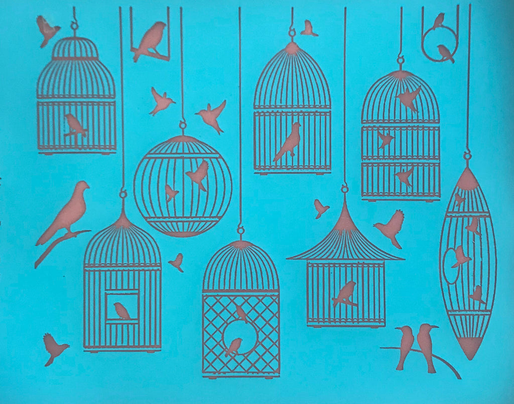 Silkscreen Fly Free Birds Birdcage Stencil for Polymer Clay, Art Jewelry and Mixed Media