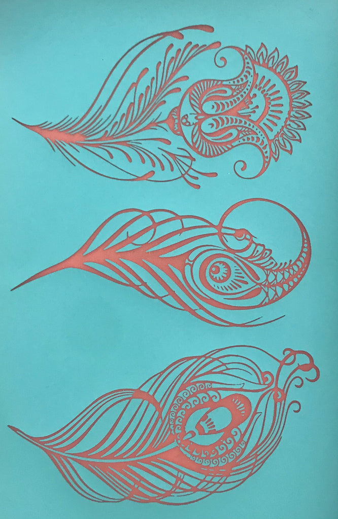 Silkscreen Cindi's Paisley Peacock Feathers polymer clay stencil