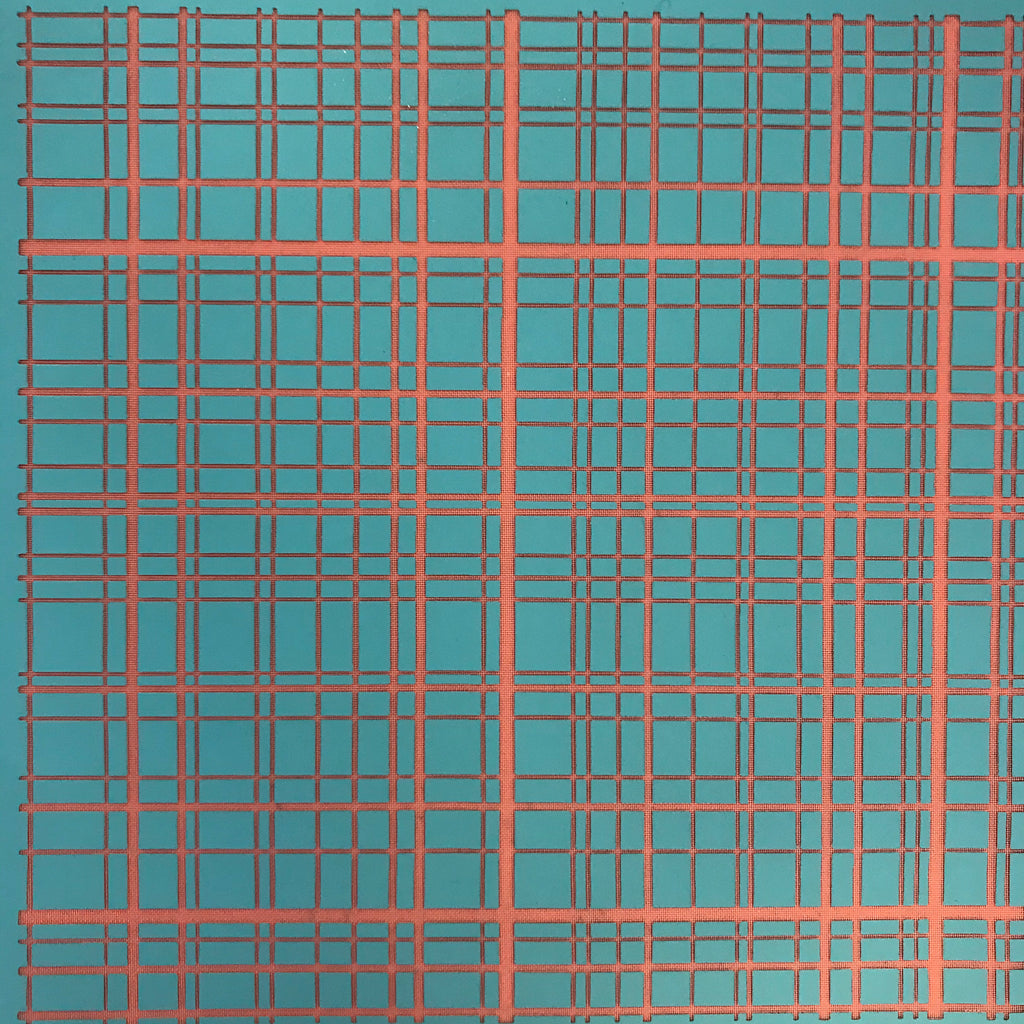 Silkscreen Stencil Plaid Tartan Lines for crafting, polymer clay + mixed media