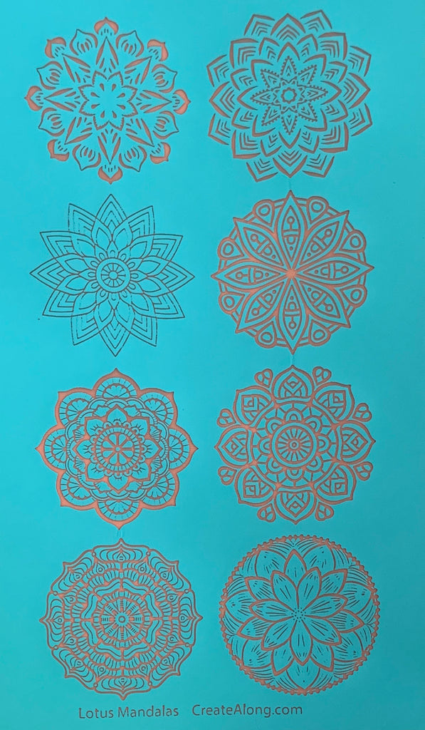 Silkscreen Stencil Lotus Mandalas Circles 8 designs For Polymer Clay And Mixed Media