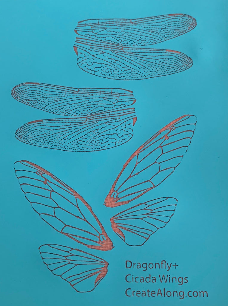 Silkscreen Dragonfly & Cicada Authentic Wings Stencil polymer clay
