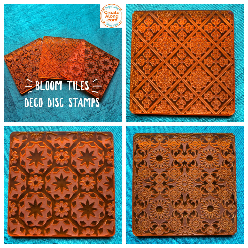 Deco Disc Bloom Tiles Stamp and Texture Pattern Designs for polymer clay