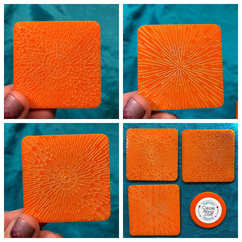 Image of Deco Disc Radiations stamp and texture radial designs in polymer clay, for art jewelry, mixed-media, and more - Polymer Clay TV tutorial and supplies