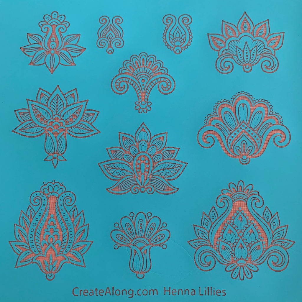 Silkscreen Henna Lilies elements Stencil For Polymer Clay