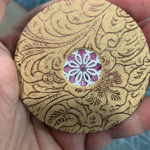 Image of Silkscreen Tooled Leather Faux Stencil for Polymer Clay and Mixed Media - Polymer Clay TV tutorial and supplies