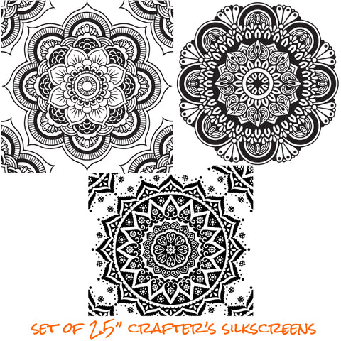 Image of Silkscreen Stencil Mini Mandala Set For Polymer Clay And Mixed Media - Polymer Clay TV tutorial and supplies