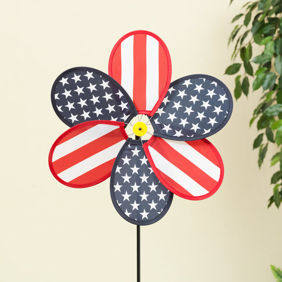 Gerson Set of 12 Patriotic Wind Spinners - Red, White and Blue Americana Yard Spinner 12 Inches Wide x 26 Inches High