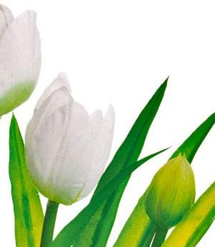 White Tulips in Pot, Artificial Floral, 13 Inches High, Spring and Summer Floral Décor
