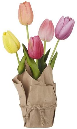 10 Inch Real Touch Artificial Potted Mixed Tulips Wrapped in Paper with Jute Tie