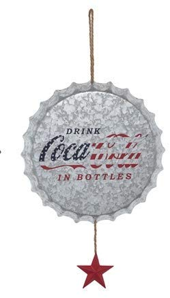 TII Drink Coca Cola Galvanized Metal Bottle Cap Wall Decor Sign, Coca Cola Sign 14 Inches