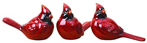 TenWaterloo Set of 3 Red Cardinal Christmas Bird Figurines in Realistic Colors and Poses, 6 inches