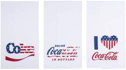 Coca Cola Set of 3 Cotton Embroidered Dish Towels, Coke Dish Towel Set, 27 Inches x 18 Inches