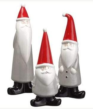 TenWaterloo Set of 3 Ceramic Santa Figurines 8.75 Inches, 10 Inches and 10.5 Inches High- Christmas Tabletop Decor