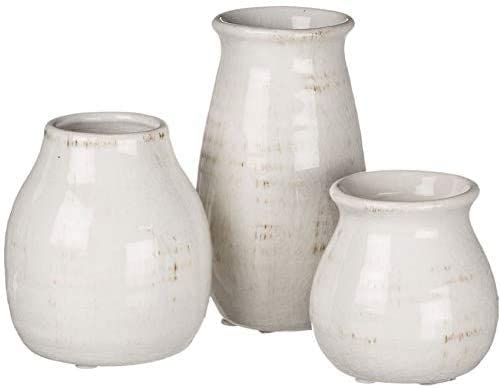 TenWaterloo Set of 3 Ceramic Bud Vases in Off-White Glazed Finish- 3 Inches, 4.5 inches and 5.5 Inches High