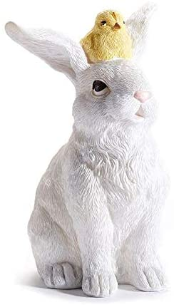 White Easter Rabbit with a Yellow Chick Friend, Spring Sculpture Figurine, 6.25 Inches High, Easter Bunny