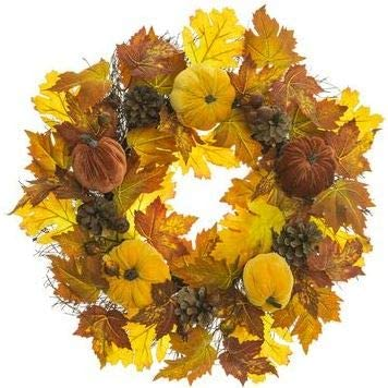 TenWaterloo 20 Inch Fall Harvest Wreath with Velvet Pumpkins, Faux Berries and Natural Pine Cones on a Twig Base