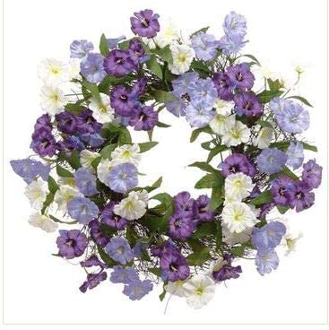 TenWaterloo 24 Inch Purple and White Morning Glory Wreath on Natural Twig Base, Artificial Blooms and Greenery, Front Door Floral Wreath
