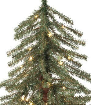 Ten Waterloo Set of 3 Lighted Christmas Pine Trees with Wood Trunks- 2 Foot, 3 Foot and 4 Foot High Artificial Alpine Trees - Battery Operated