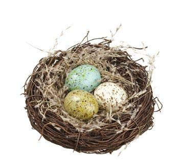 TenWaterloo A Bird's Nest with Eggs, Blue, Cream and Green- Spring and Easter Decor, 7 Inches Wide