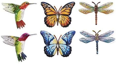 Set of 6 Metal Butterflies, Hummingbirds and Dragonflies Hanging Wall Art, 6.5 Inches, 6 Designs in Colorful Enamel