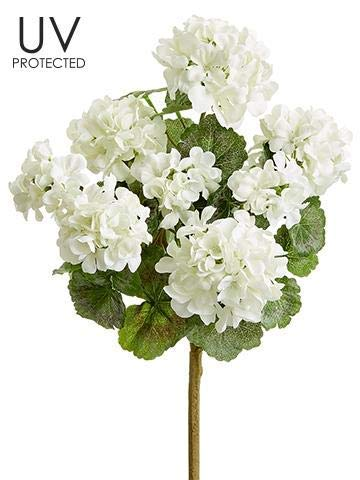 "Ten Waterloo White UV Protected Outdoor Artificial Geranium Bush - 18"" Tall"