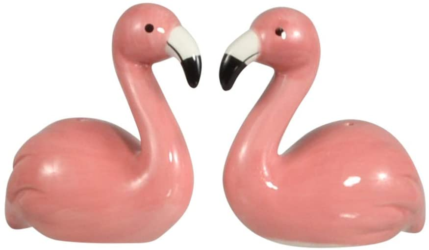 Pink Flamingo Salt and Pepper Shaker Set in Ceramic