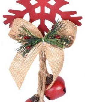 14 Inch Snowflake Ornament Christmas Door Hanger with Bells