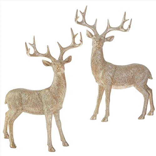 TenWaterloo Gold Glittered Christmas Deer Set - 17 Inches High - Holiday Decor Reindeer